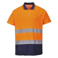 Polo coton bicolore Orange / Marine PORTWEST